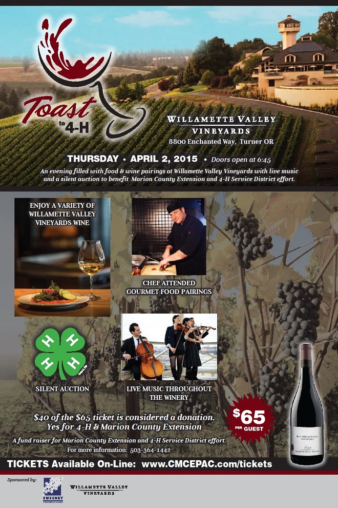 Toast to 4-H April 2 at Willamette Valley Vineyards